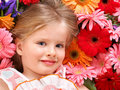 Cute child lying on the flower. Stock Photos