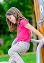 Cute child on a playground portrait of Royalty Free Stock Photos