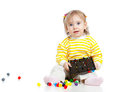 Cute child playing with mosaic toy Stock Photography