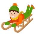 Cute child on snow sledding. Vector illustration isolated white background Royalty Free Stock Photo
