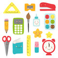 Cute childish Back to School supplies as smiling cartoon characters Royalty Free Stock Photo
