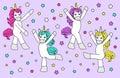 Cute childish cartoon characters as magic rainbow hair unicorn