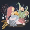 Cute childish illustration: little mermaid with a fish. Vector graphics