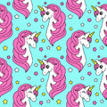 Cute childish seamless pattern with cartoon character of magic unicorn Royalty Free Stock Photo