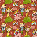 Cute childlike seamless pattern with little fairy prince and pr princesse Stock Photo