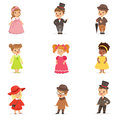 Cute children in elegant festive clothes. Kids in retro costumes cartoon colorful Illustrations