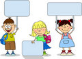 Cute children holding banners, vector Stock Photo
