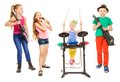 Cute children playing instruments and girl sings Royalty Free Stock Photo