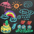 Cute children`s drawing. Colored wax crayons. Icons, signs, symbols, pins Royalty Free Stock Photo
