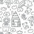 Cute children`s drawings seamless pattern