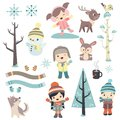 Cute children in winter time