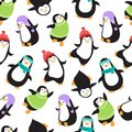 Cute christmas baby penguins vector seamless pattern