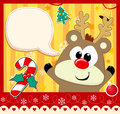 Cute christmas card baby rudolph with dialog bubble text and decoration Stock Image