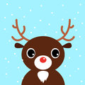 Cute christmas cartoon deer on blue background xmas snowing vector illustration Stock Photography