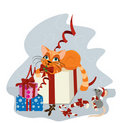 Cute Christmas cat and mouse Royalty Free Stock Image