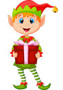 Cute christmas elf cartoon holding a gift illustration of Stock Photography