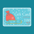 Cute Christmas Gift Cards with Santa bag. Royalty Free Stock Photo