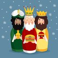Cute Christmas greeting card, invitation with three magi. Biblical kings Caspar, Melchior and Balthazar. Vector Royalty Free Stock Photo
