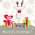 Cute Christmas greeting card with reindeer Royalty Free Stock Photography