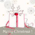 Cute Christmas greeting with red nosed reindeer Stock Image