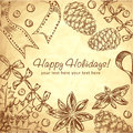 Cute Christmas hand drawn ink retro postcard Royalty Free Stock Photo