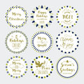 Cute Christmas and Holiday wishes wreath and emblems set Royalty Free Stock Photo