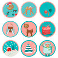 Cute christmas icons design set of nine or stickers Stock Image