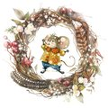 A cute Christmas mouse in a cartoon style catches snowflakes in a frame from a Christmas wreath. Watercolor christmas