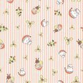 Cute Christmas pattern with Santa Claus, snowman and holly on stripe background. Vector seamless pattern background