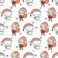 Cute Christmas pattern with Santa Claus, snowman and snowflake flowers on icy background. Fun vector Christmas background for kids