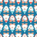 Cute Christmas penguin seamless vector pattern with Santa`s hat and mistletoe