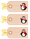 Cute christmas Penguin tags Royalty Free Stock Images
