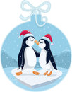 Cute Christmas Penguins Kissing Vector Cartoon Royalty Free Stock Photo