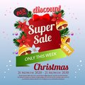 Cute christmas Sale Poster bell poinsettia decoration vector