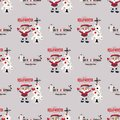 Cute Christmas Seamless Pattern Background - Vector Illustration, flat style. Endless texture. Use for wallpaper Royalty Free Stock Photo