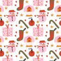 Cute Christmas Seamless Pattern. Flat Vector Illustration