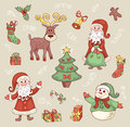 Cute christmas set сartoon illustration Royalty Free Stock Image