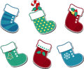 Cute christmas socks set of six isolated on white Royalty Free Stock Photos