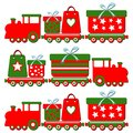 Cute christmas steam train with gift boxes illus colorful illustration Royalty Free Stock Image