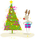 Cute Christmas tree and reindeer Royalty Free Stock Photos