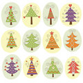 Cute christmas trees Stock Image