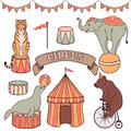 Cute circus animals set Royalty Free Stock Photo