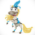 Cute circus horse on hind legs white background Stock Photos