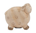 Cute clay sheep lamb piggybank money box on white isolated background Royalty Free Stock Photos