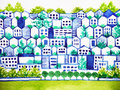 Cute clean town love environment city tree and biulding concept