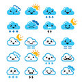 Cute cloud kawaii manga icons with different expressions happy sad angry funny cartoon set of clouds sun moon snow and thunders Stock Images