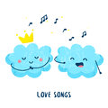 Cute cloud sings a love song for the princess. Flat style. Vector Royalty Free Stock Photo