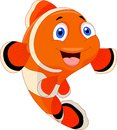 Cute clown fish cartoon illustration of Stock Photo