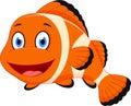 Cute clown fish cartoon Royalty Free Stock Photo