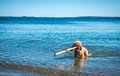 Cute cockapoo navigates large stick in the oceans of cape cod a blonde curly haired comically a very long his mouth atlantic ocean Royalty Free Stock Photos